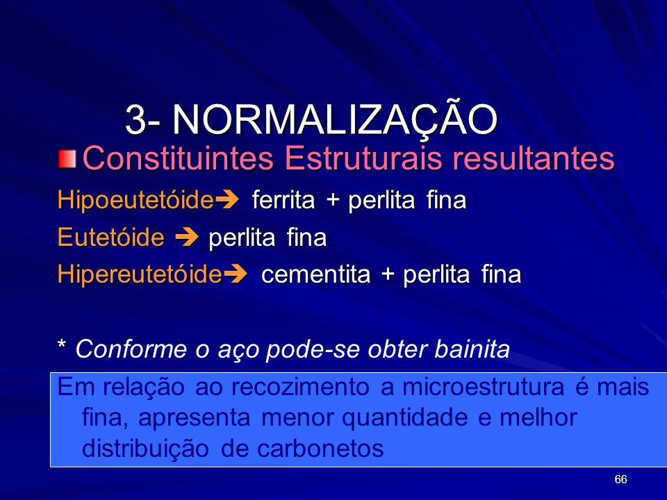 66 3- NORMALIZAÇÃO Constituintes Estruturais resultantes Hipoeutetóide ferrita + perlita fina Eutetóide perlita fina Hipereutetóide cementita + perlit
