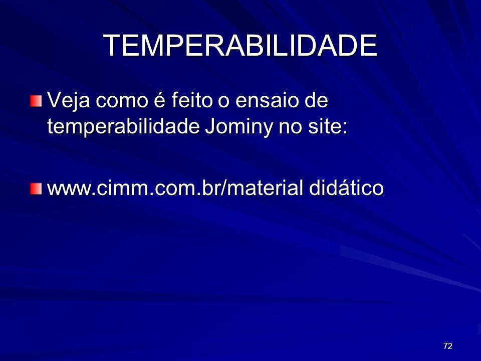 72 TEMPERABILIDADE Veja como é feito o ensaio de temperabilidade Jominy no site: www.cimm.com.br/material didático