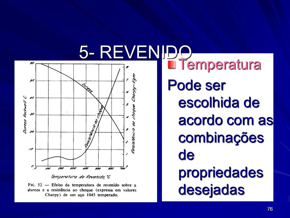 76 5- REVENIDO Temperatura Pode ser escolhida de acordo com as combinações de propriedades desejadas