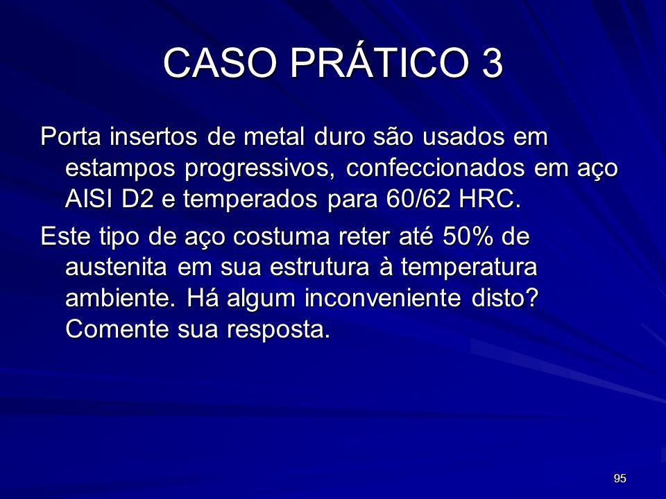 95 CASO PRÁTICO 3 Porta insertos de metal duro são usados em estampos progressivos, confeccionados em aço AISI D2 e temperados para 60/62 HRC. Este ti