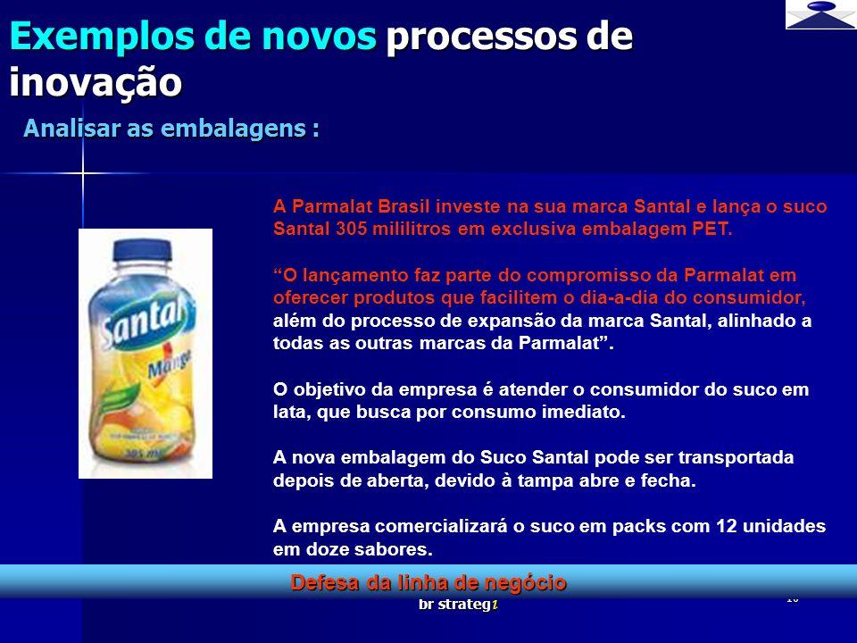 br strateg i 10 Exemplos de novos processos de inovação Defesa da linha de negócio Analisar as embalagens : A Parmalat Brasil investe na sua marca San