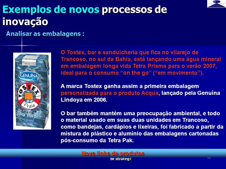 br strateg i 11 Exemplos de novos processos de inovação Nova linha de produtos Analisar as embalagens : O Tostex, bar e sanduicheria que fica no vilar