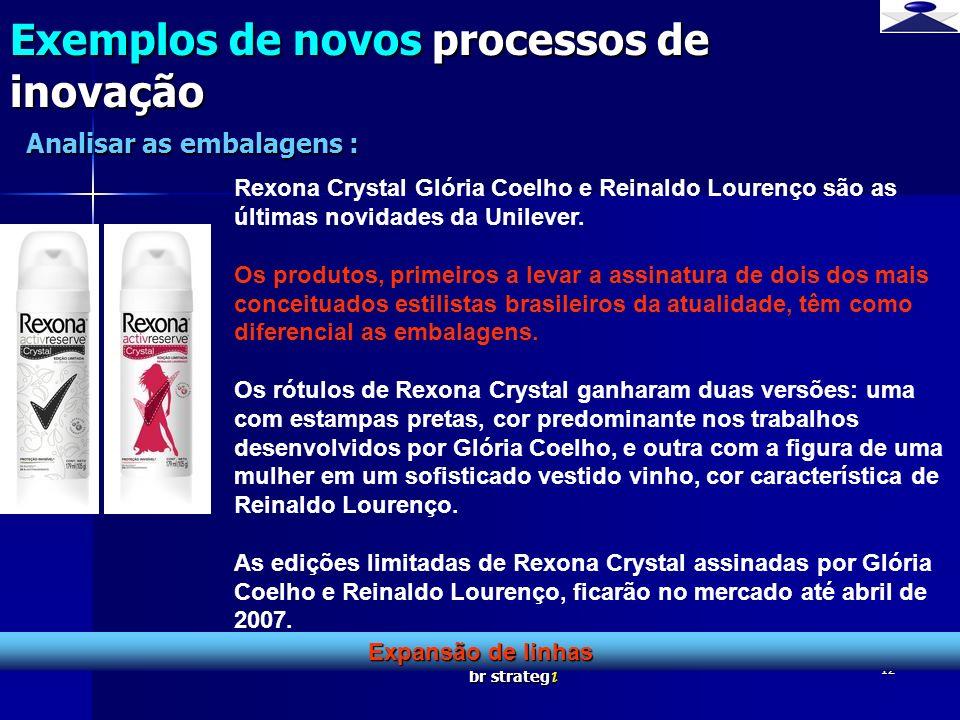 br strateg i 12 Exemplos de novos processos de inovação Expansão de linhas Analisar as embalagens : Rexona Crystal Glória Coelho e Reinaldo Lourenço s