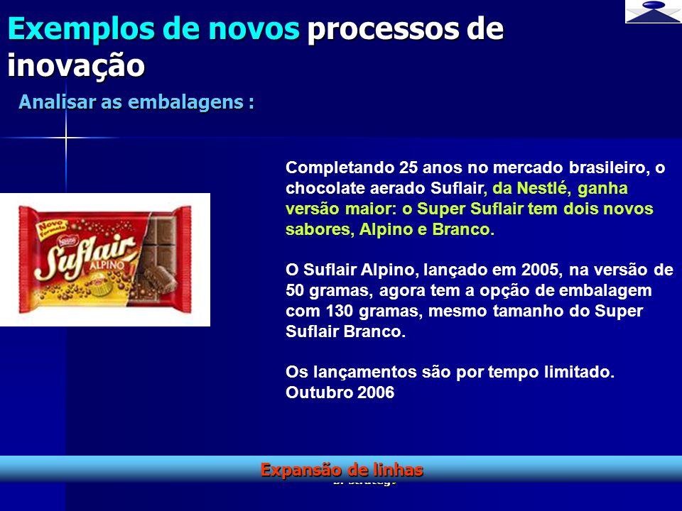 br strateg i 13 Exemplos de novos processos de inovação Expansão de linhas Analisar as embalagens : Completando 25 anos no mercado brasileiro, o choco