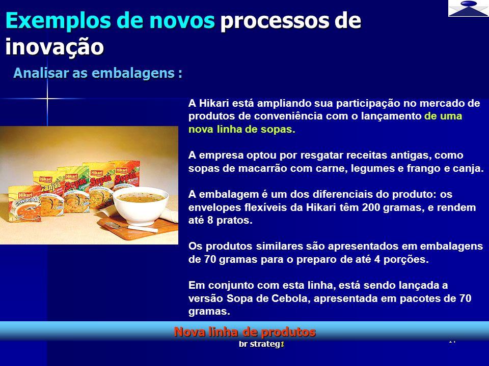 br strateg i 14 Exemplos de novos processos de inovação Nova linha de produtos Analisar as embalagens : A Hikari está ampliando sua participação no me