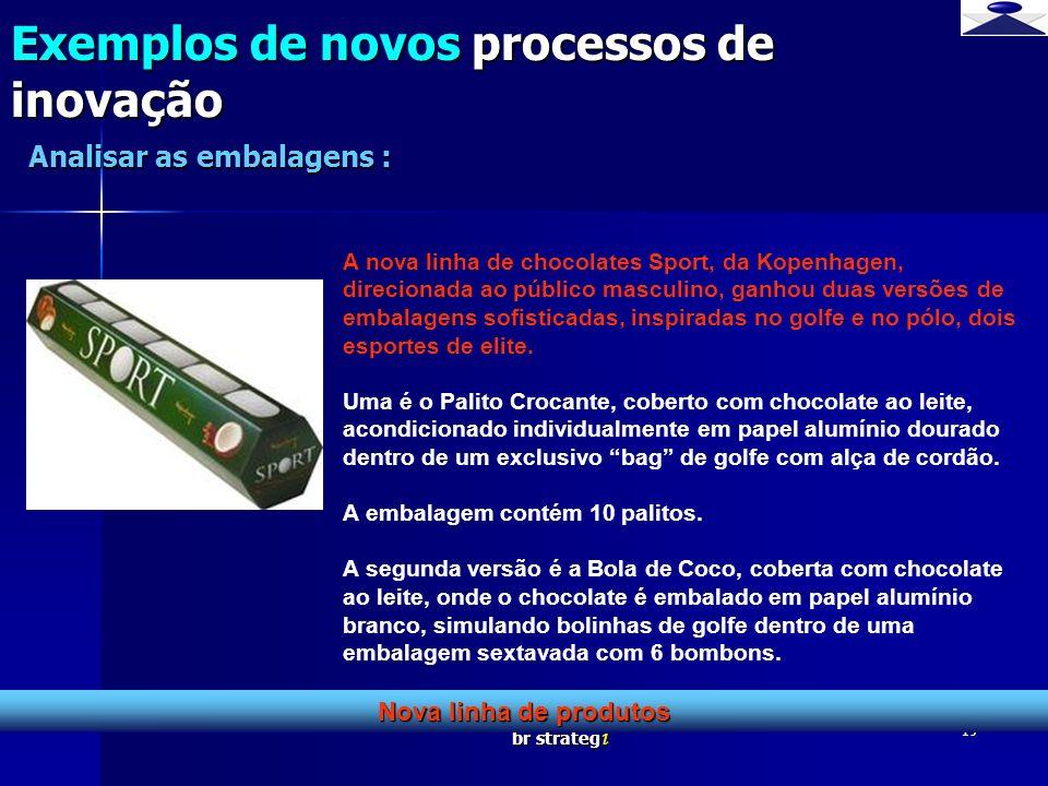 br strateg i 19 Exemplos de novos processos de inovação Nova linha de produtos Analisar as embalagens : A nova linha de chocolates Sport, da Kopenhage