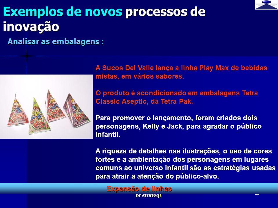 br strateg i 25 Exemplos de novos processos de inovação Expansão de linhas Analisar as embalagens : A Sucos Del Valle lança a linha Play Max de bebida