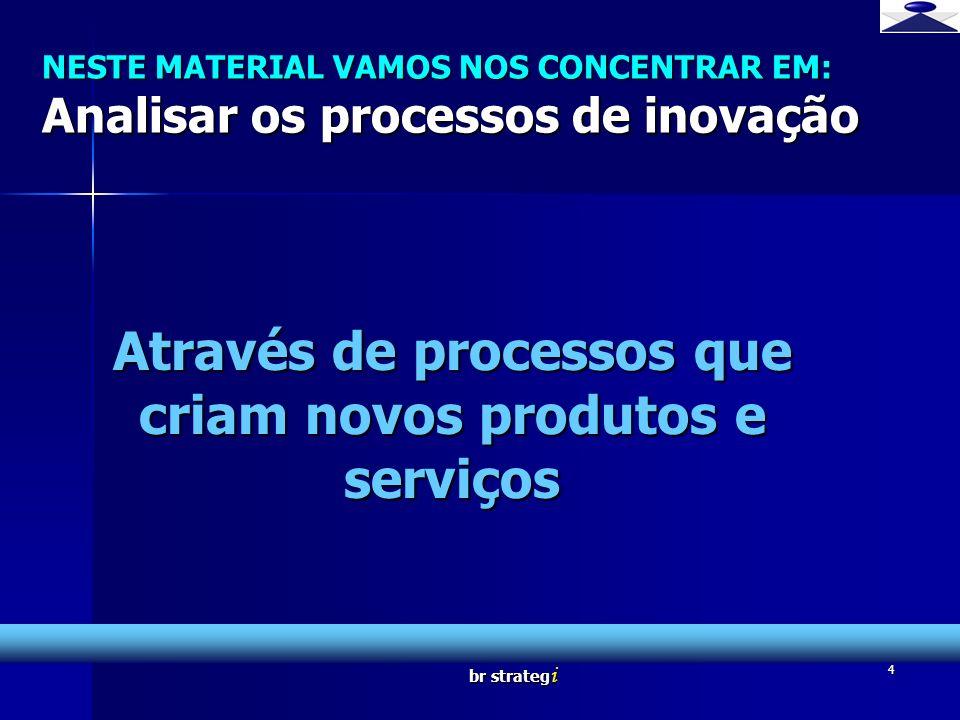 br strateg i 4 NESTE MATERIAL VAMOS NOS CONCENTRAR EM: Analisar os processos de inovação Através de processos que criam novos produtos e serviços