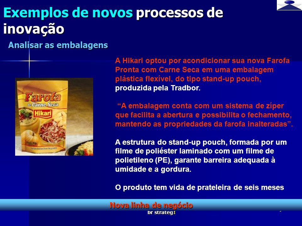 br strateg i 10 Exemplos de novos processos de inovação Defesa da linha de negócio Analisar as embalagens : A Parmalat Brasil investe na sua marca Santal e lança o suco Santal 305 mililitros em exclusiva embalagem PET.