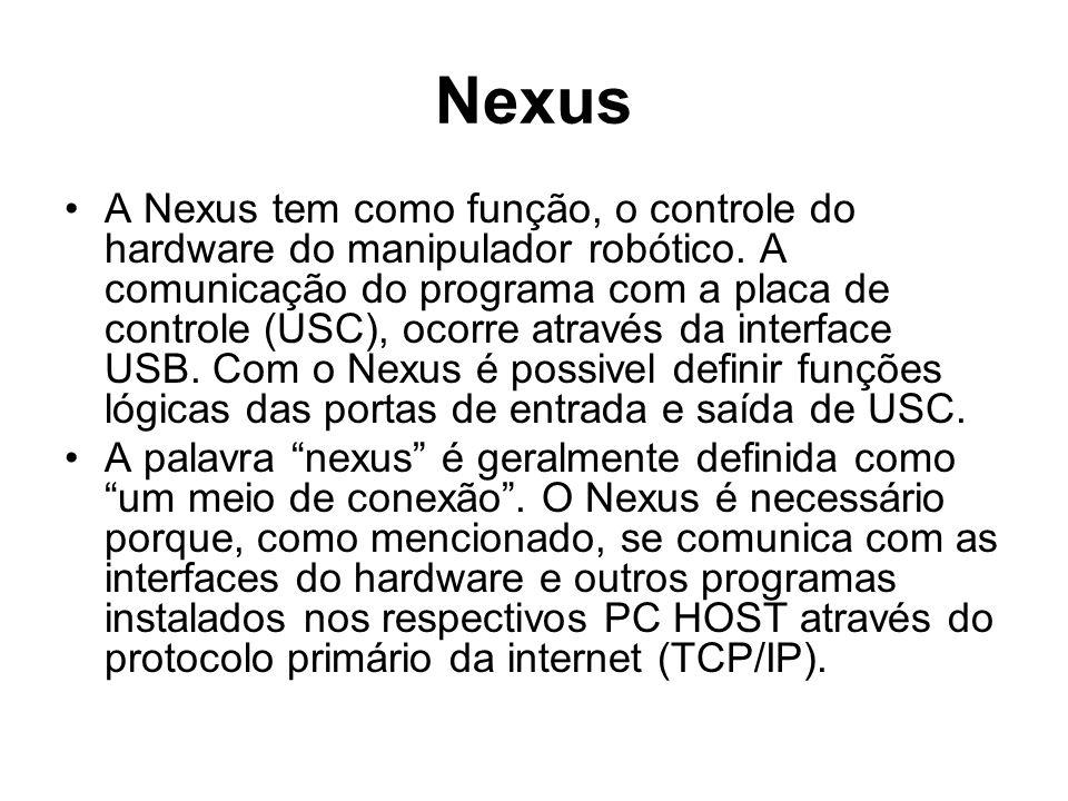 Nexus A Nexus tem como função, o controle do hardware do manipulador robótico. A comunicação do programa com a placa de controle (USC), ocorre através