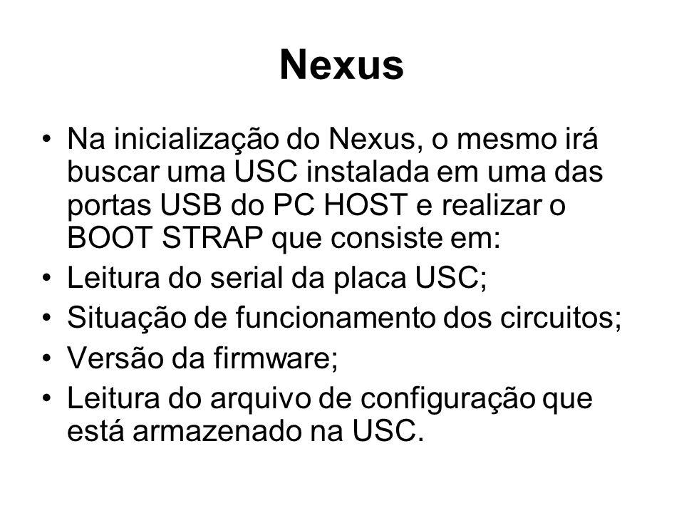 Nexus Na inicialização do Nexus, o mesmo irá buscar uma USC instalada em uma das portas USB do PC HOST e realizar o BOOT STRAP que consiste em: Leitur