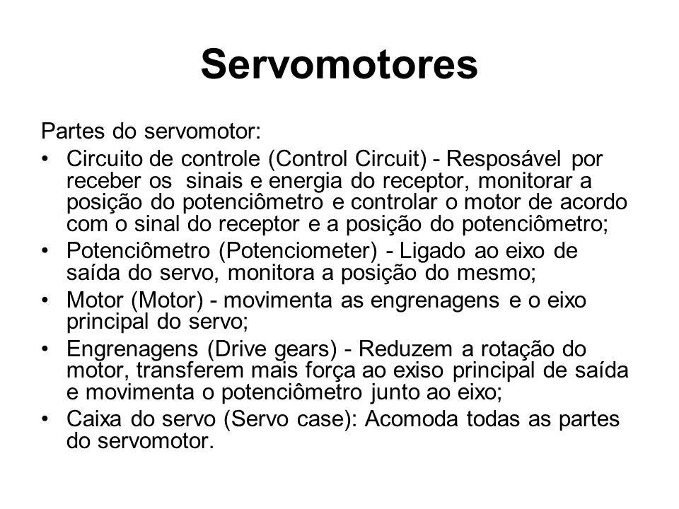 Partes do servomotor: Circuito de controle (Control Circuit) - Resposável por receber os sinais e energia do receptor, monitorar a posição do potenciô