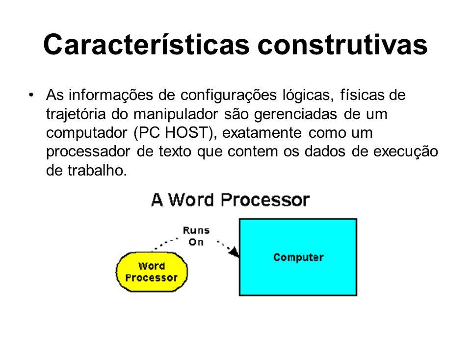 Características construtivas As informações de configurações lógicas, físicas de trajetória do manipulador são gerenciadas de um computador (PC HOST),