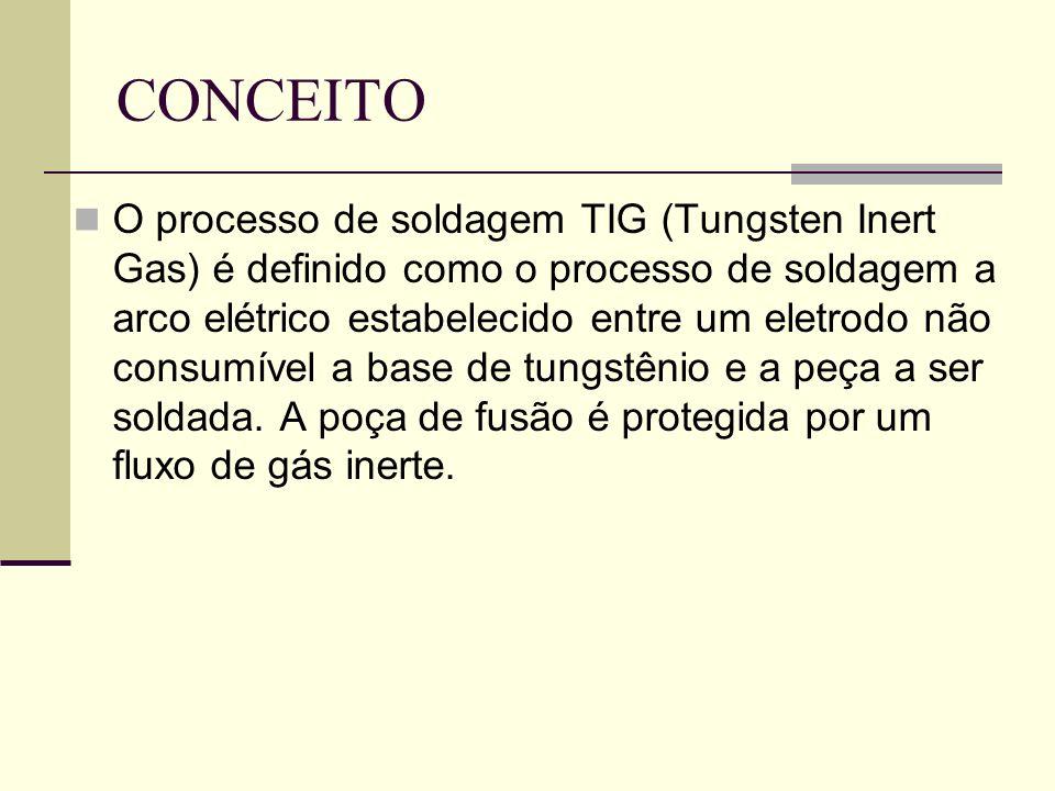 CONCEITO O processo de soldagem TIG (Tungsten Inert Gas) é definido como o processo de soldagem a arco elétrico estabelecido entre um eletrodo não consumível a base de tungstênio e a peça a ser soldada.