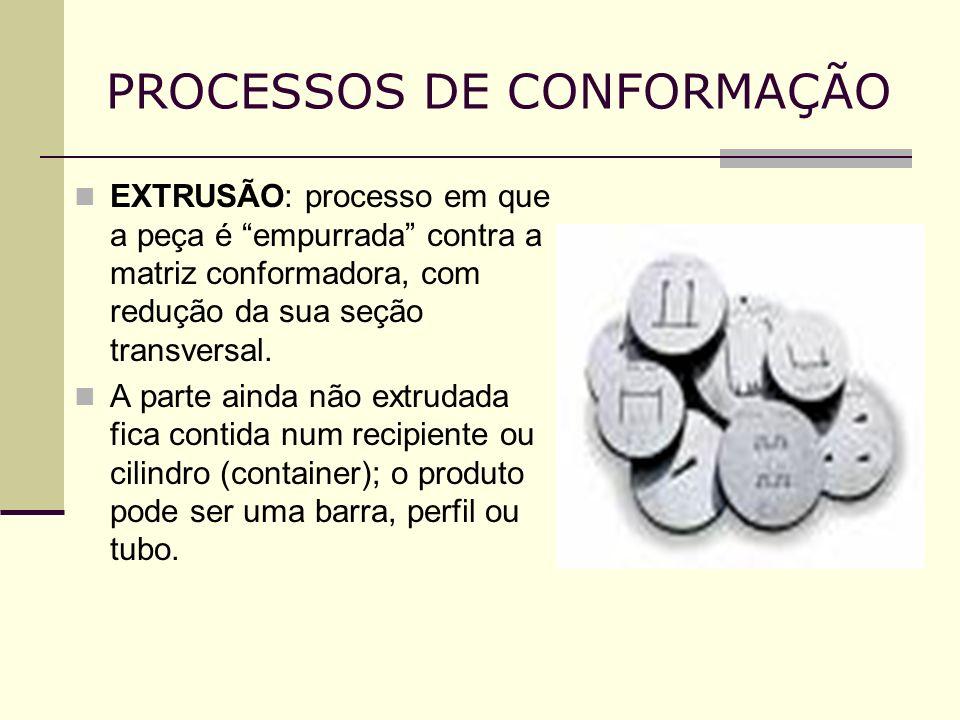 PROCESSOS DE CONFORMAÇÃO EXTRUSÃO: processo em que a peça é empurrada contra a matriz conformadora, com redução da sua seção transversal. A parte aind