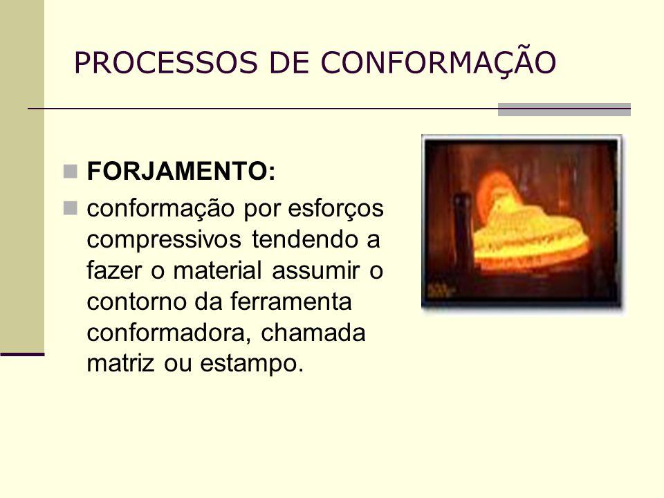 PROCESSOS DE CONFORMAÇÃO FORJAMENTO: conformação por esforços compressivos tendendo a fazer o material assumir o contorno da ferramenta conformadora,