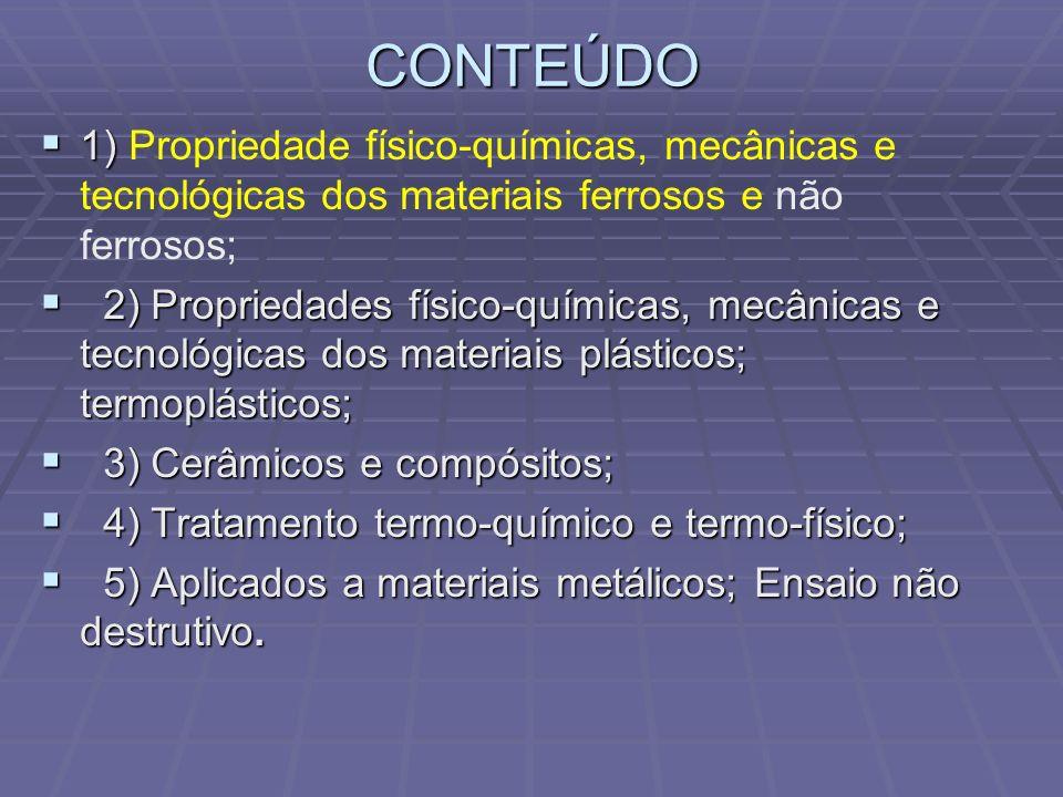CONTEÚDO 1) 1) Propriedade físico-químicas, mecânicas e tecnológicas dos materiais ferrosos e não ferrosos; 2) Propriedades físico-químicas, mecânicas