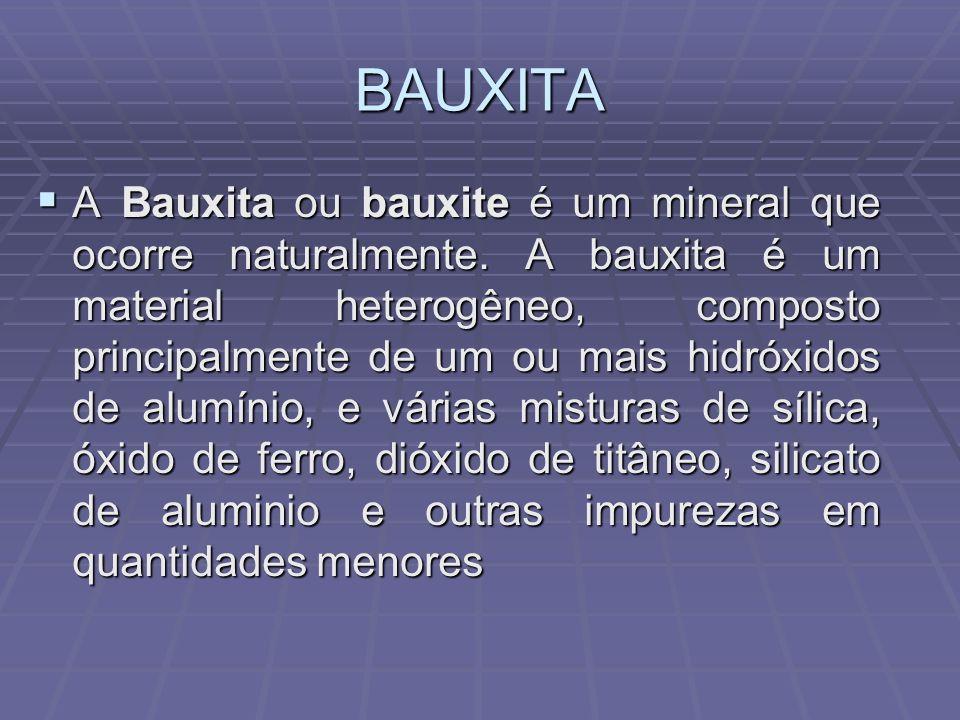 BAUXITA A Bauxita ou bauxite é um mineral que ocorre naturalmente. A bauxita é um material heterogêneo, composto principalmente de um ou mais hidróxid
