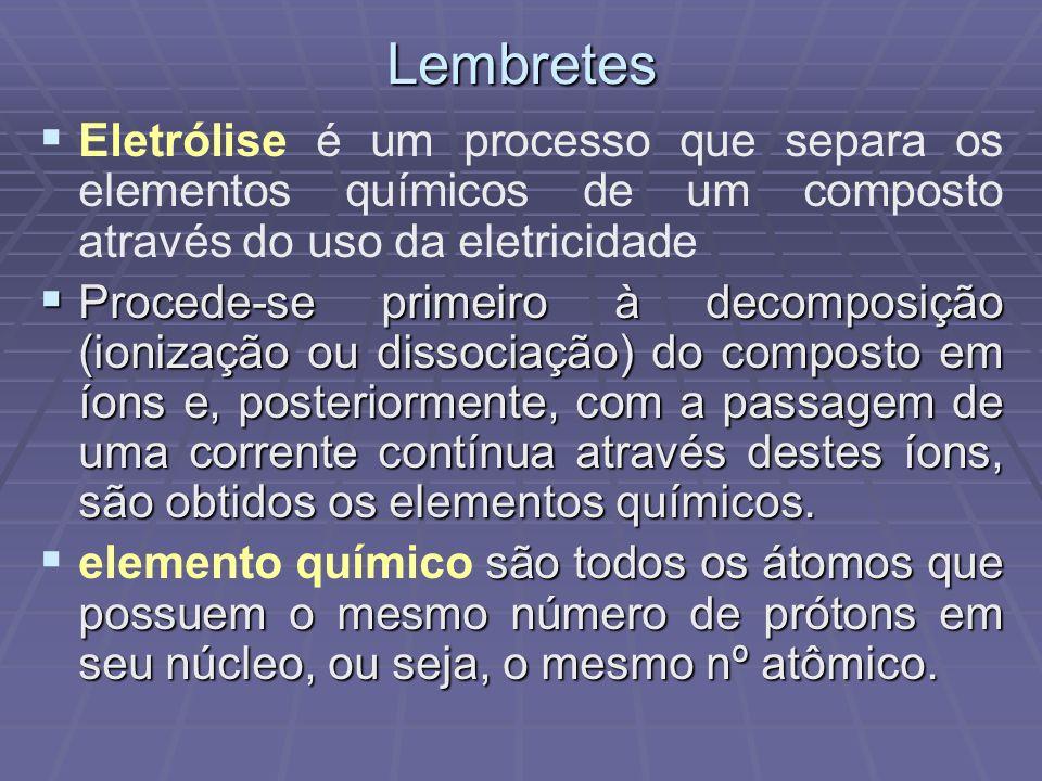 Lembretes Eletrólise é um processo que separa os elementos químicos de um composto através do uso da eletricidade Procede-se primeiro à decomposição (