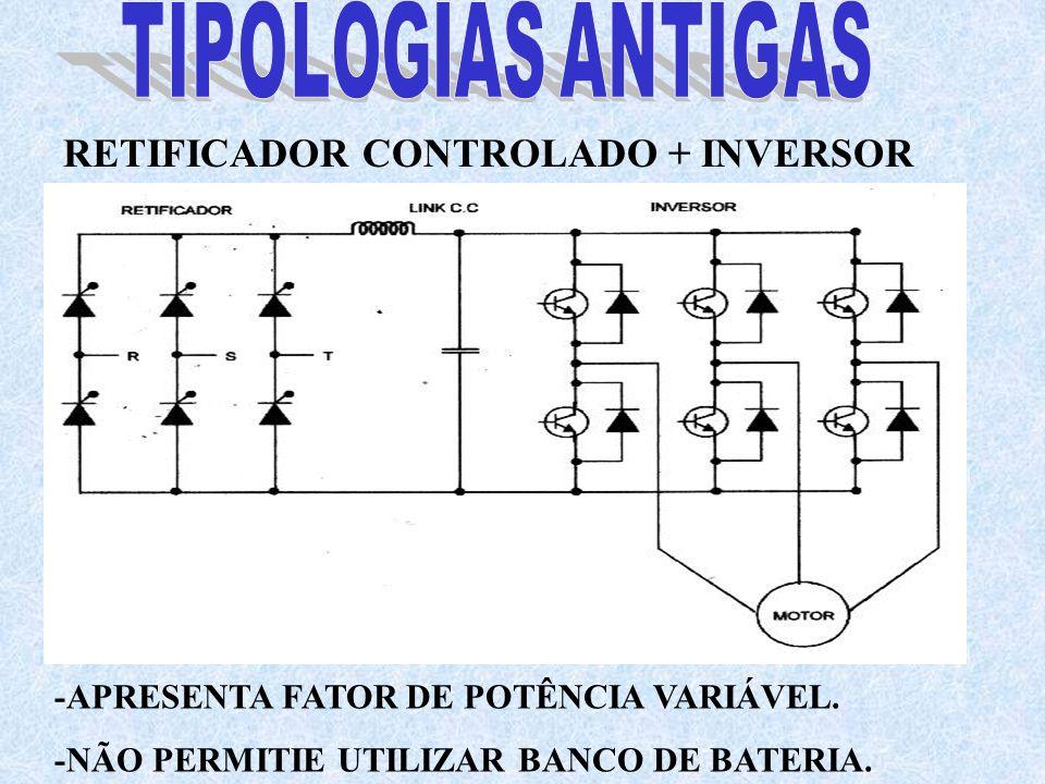 RETIFICADOR CONTROLADO + INVERSOR -APRESENTA FATOR DE POTÊNCIA VARIÁVEL. -NÃO PERMITIE UTILIZAR BANCO DE BATERIA.