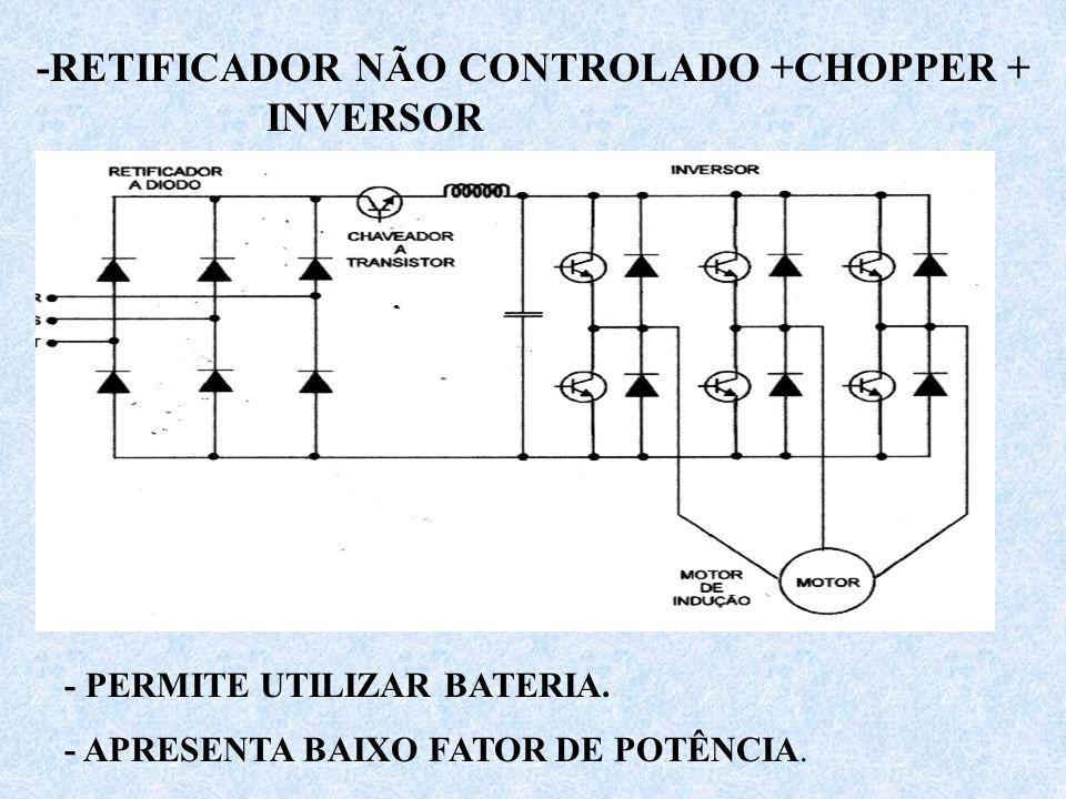 -RETIFICADOR NÃO CONTROLADO +CHOPPER + INVERSOR - PERMITE UTILIZAR BATERIA. - APRESENTA BAIXO FATOR DE POTÊNCIA.