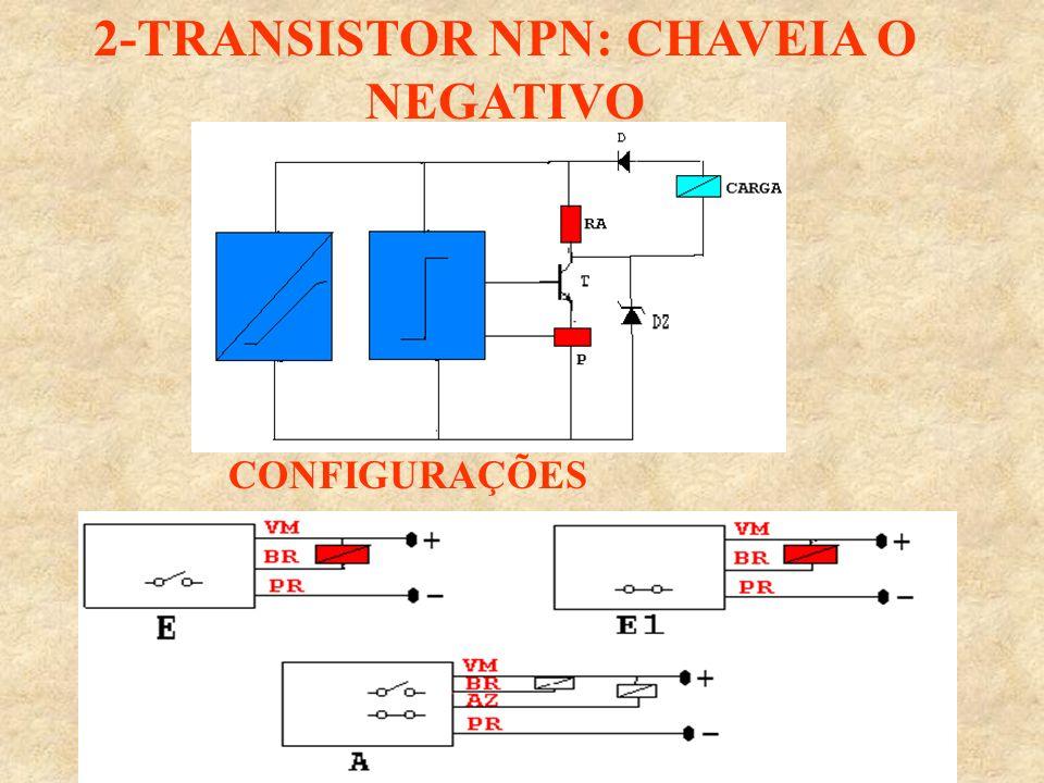 2-TRANSISTOR NPN: CHAVEIA O NEGATIVO CONFIGURAÇÕES