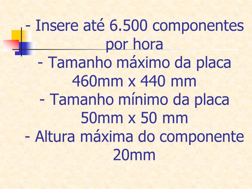 - Insere até 6.500 componentes por hora - Tamanho máximo da placa 460mm x 440 mm - Tamanho mínimo da placa 50mm x 50 mm - Altura máxima do componente