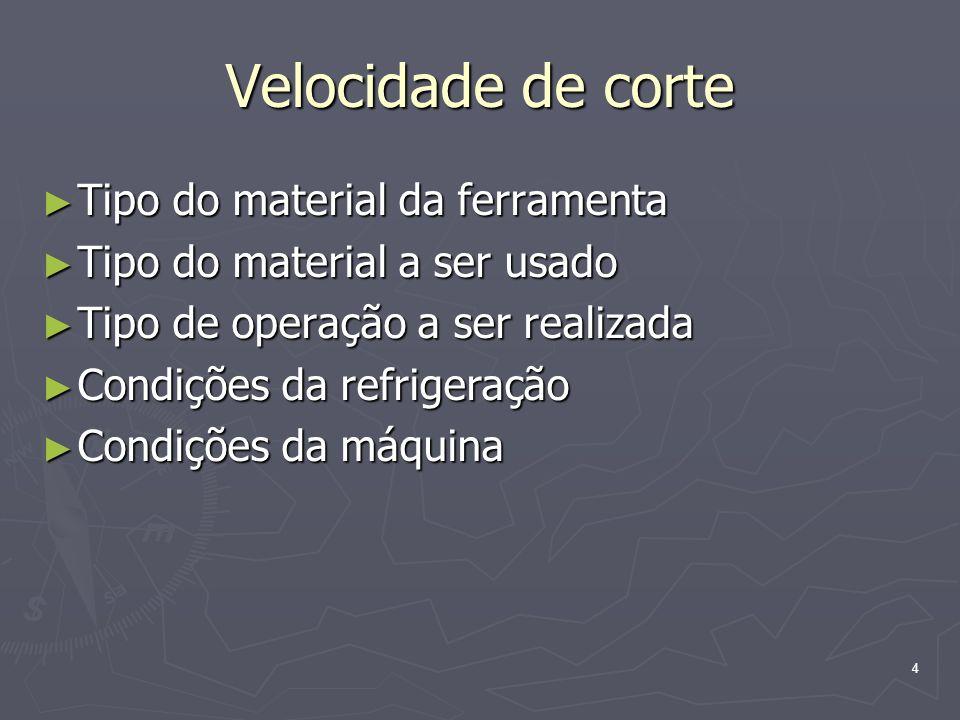 4 Velocidade de corte Tipo do material da ferramenta Tipo do material da ferramenta Tipo do material a ser usado Tipo do material a ser usado Tipo de