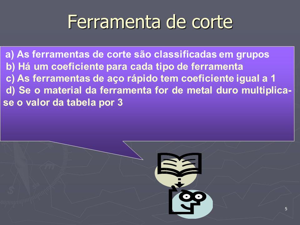 5 Ferramenta de corte a) As ferramentas de corte são classificadas em grupos b) Há um coeficiente para cada tipo de ferramenta c) As ferramentas de aç