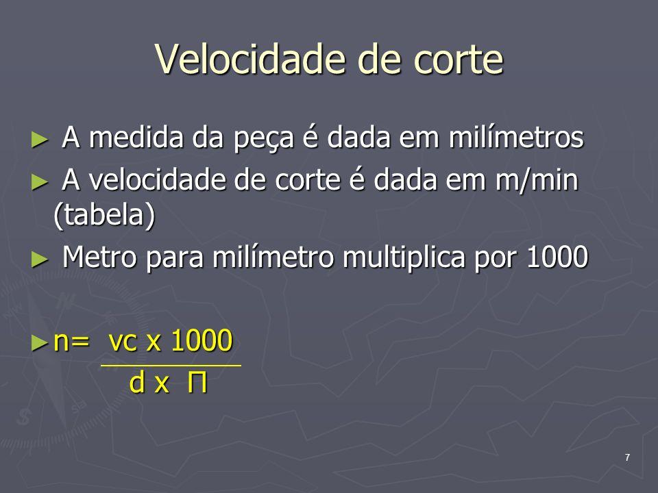 7 Velocidade de corte A medida da peça é dada em milímetros A medida da peça é dada em milímetros A velocidade de corte é dada em m/min (tabela) A vel