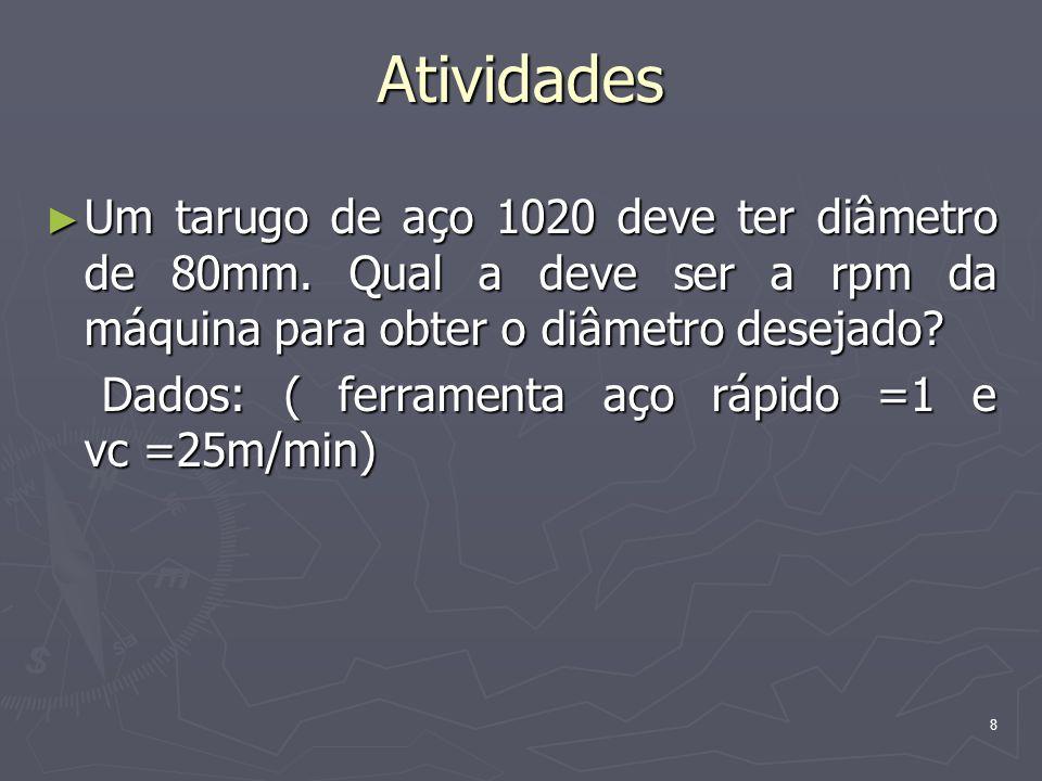 8 Atividades Um tarugo de aço 1020 deve ter diâmetro de 80mm. Qual a deve ser a rpm da máquina para obter o diâmetro desejado? Um tarugo de aço 1020 d