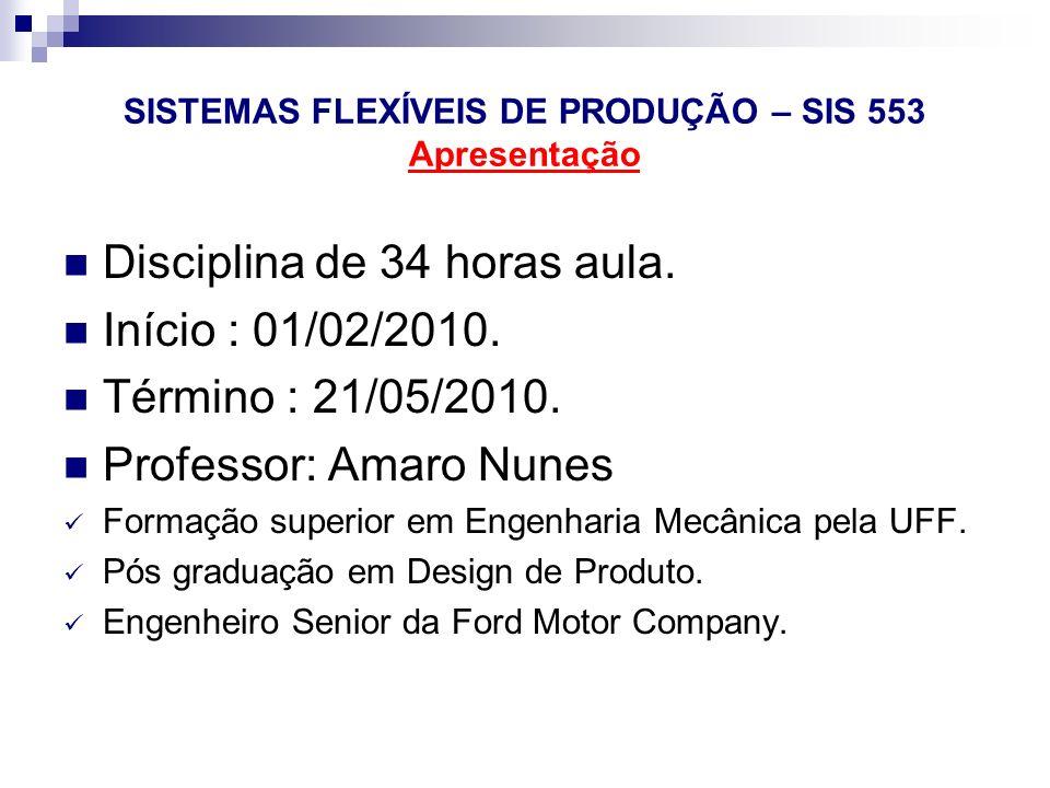 SISTEMAS FLEXÍVEIS DE PRODUÇÃO – SIS 553 Apresentação Disciplina de 34 horas aula. Início : 01/02/2010. Término : 21/05/2010. Professor: Amaro Nunes F