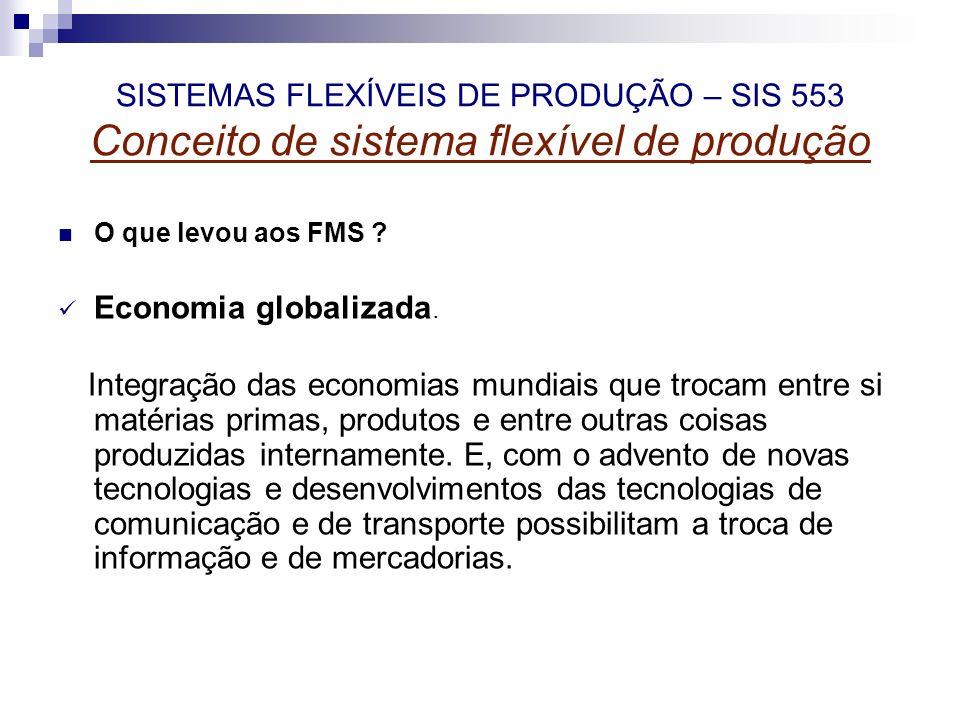 SISTEMAS FLEXÍVEIS DE PRODUÇÃO – SIS 553 Conceito de sistema flexível de produção O que levou aos FMS ? Economia globalizada. Integração das economias