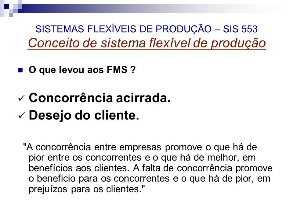 SISTEMAS FLEXÍVEIS DE PRODUÇÃO – SIS 553 Conceito de sistema flexível de produção O que levou aos FMS ? Concorrência acirrada. Desejo do cliente.