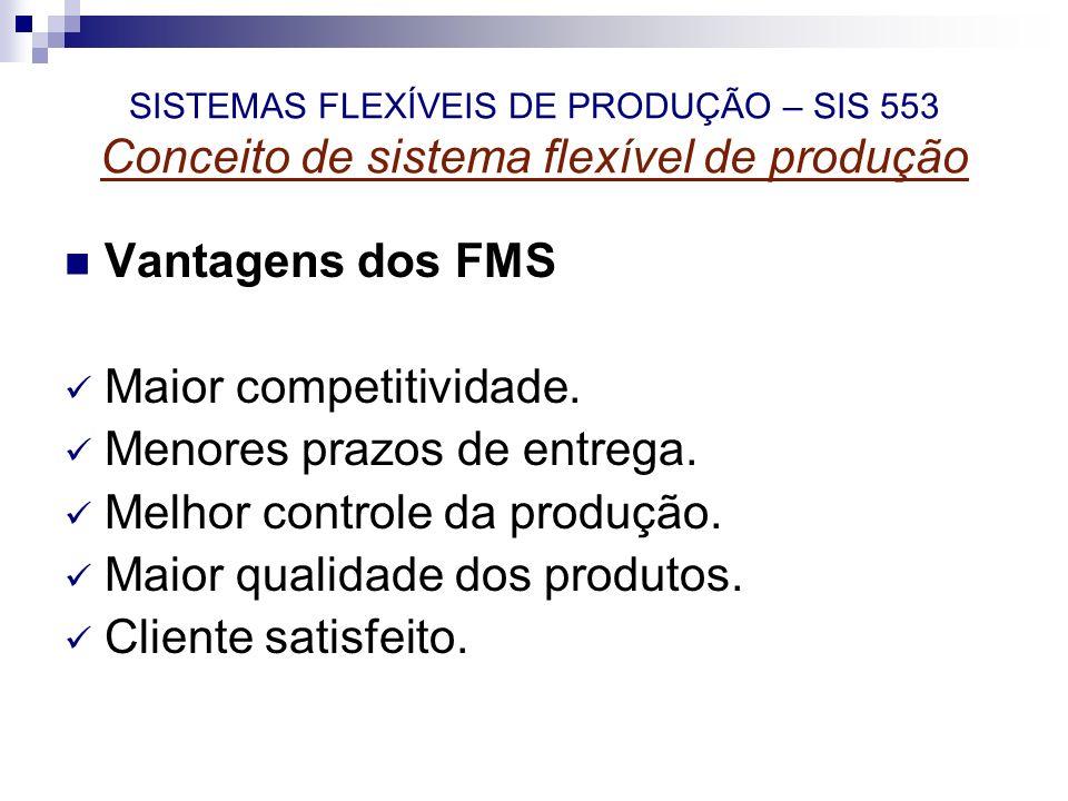 SISTEMAS FLEXÍVEIS DE PRODUÇÃO – SIS 553 Conceito de sistema flexível de produção Vantagens dos FMS Maior competitividade. Menores prazos de entrega.