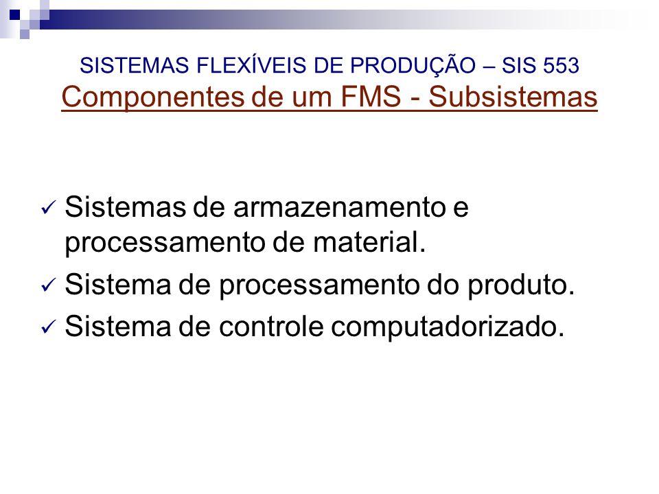 SISTEMAS FLEXÍVEIS DE PRODUÇÃO – SIS 553 Componentes de um FMS - Subsistemas Sistemas de armazenamento e processamento de material. Sistema de process