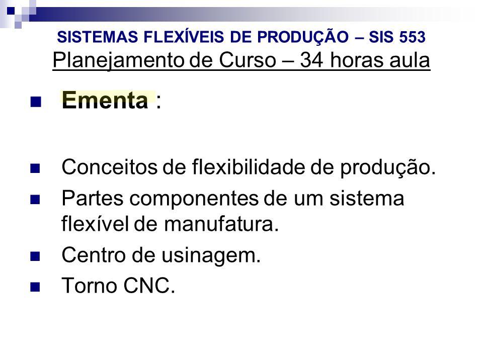 SISTEMAS FLEXÍVEIS DE PRODUÇÃO – SIS 553 Planejamento de Curso – 34 horas aula Ementa : Conceitos de flexibilidade de produção. Partes componentes de
