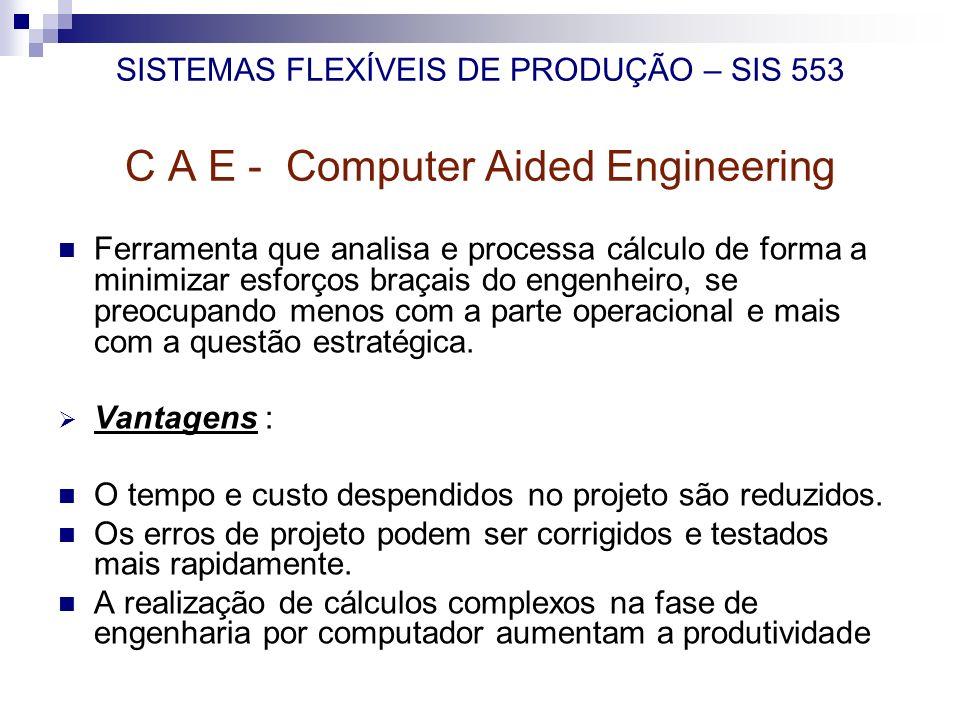 SISTEMAS FLEXÍVEIS DE PRODUÇÃO – SIS 553 C A E - Computer Aided Engineering Ferramenta que analisa e processa cálculo de forma a minimizar esforços br