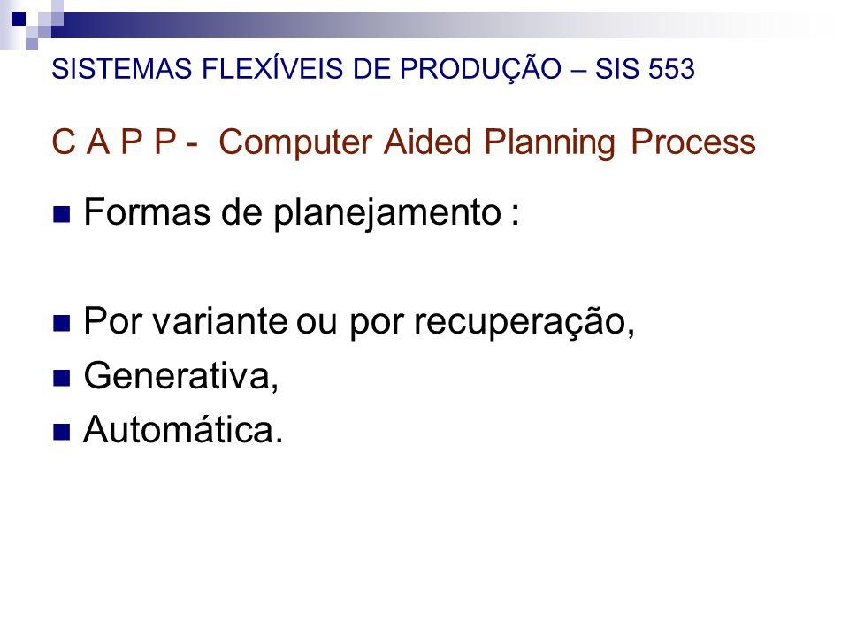SISTEMAS FLEXÍVEIS DE PRODUÇÃO – SIS 553 C A P P - Computer Aided Planning Process Formas de planejamento : Por variante ou por recuperação, Generativ