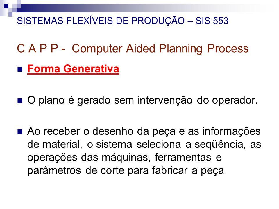 SISTEMAS FLEXÍVEIS DE PRODUÇÃO – SIS 553 C A P P - Computer Aided Planning Process Forma Generativa O plano é gerado sem intervenção do operador. Ao r