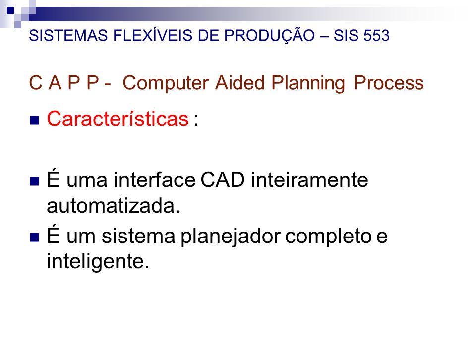 SISTEMAS FLEXÍVEIS DE PRODUÇÃO – SIS 553 C A P P - Computer Aided Planning Process Características : É uma interface CAD inteiramente automatizada. É