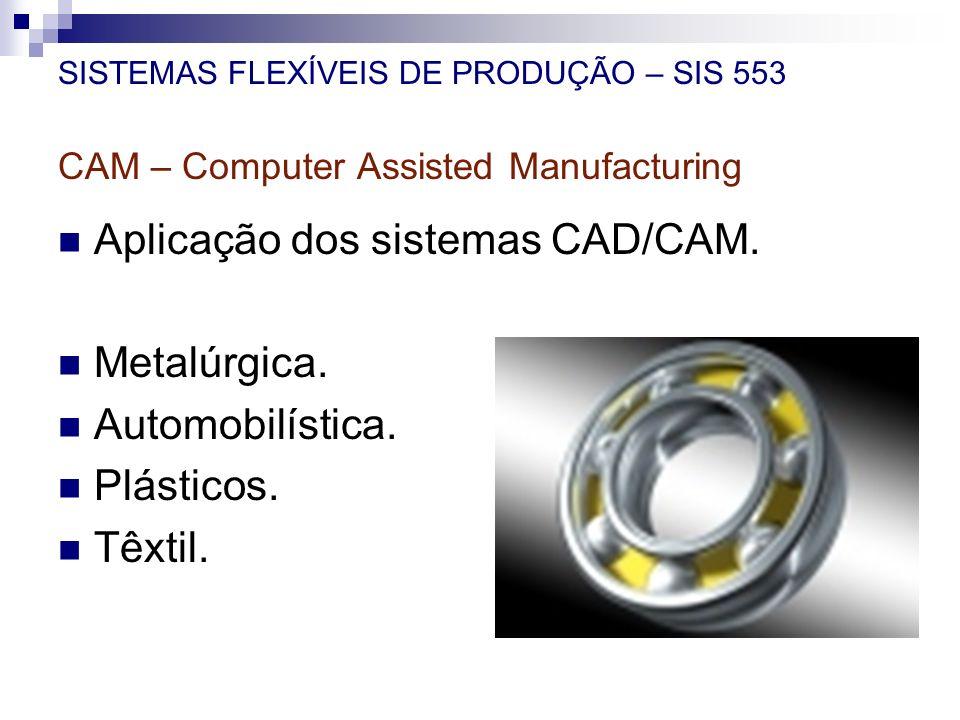 SISTEMAS FLEXÍVEIS DE PRODUÇÃO – SIS 553 CAM – Computer Assisted Manufacturing Aplicação dos sistemas CAD/CAM. Metalúrgica. Automobilística. Plásticos