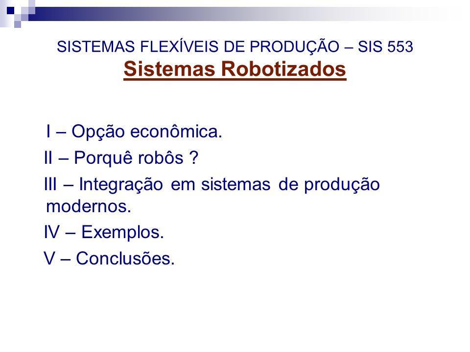 SISTEMAS FLEXÍVEIS DE PRODUÇÃO – SIS 553 Sistemas Robotizados I – Opção econômica. II – Porquê robôs ? III – Integração em sistemas de produção modern