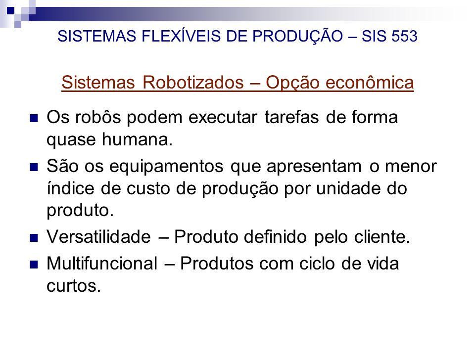 SISTEMAS FLEXÍVEIS DE PRODUÇÃO – SIS 553 Sistemas Robotizados – Opção econômica Os robôs podem executar tarefas de forma quase humana. São os equipame