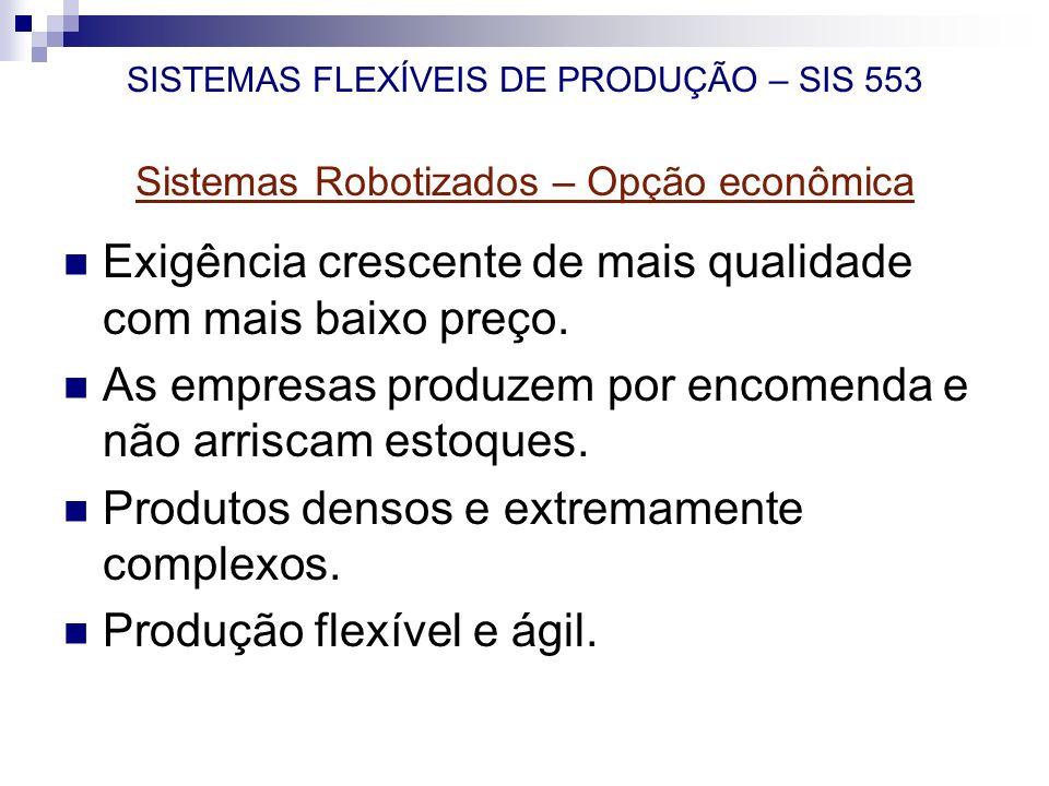 SISTEMAS FLEXÍVEIS DE PRODUÇÃO – SIS 553 Sistemas Robotizados – Opção econômica Exigência crescente de mais qualidade com mais baixo preço. As empresa