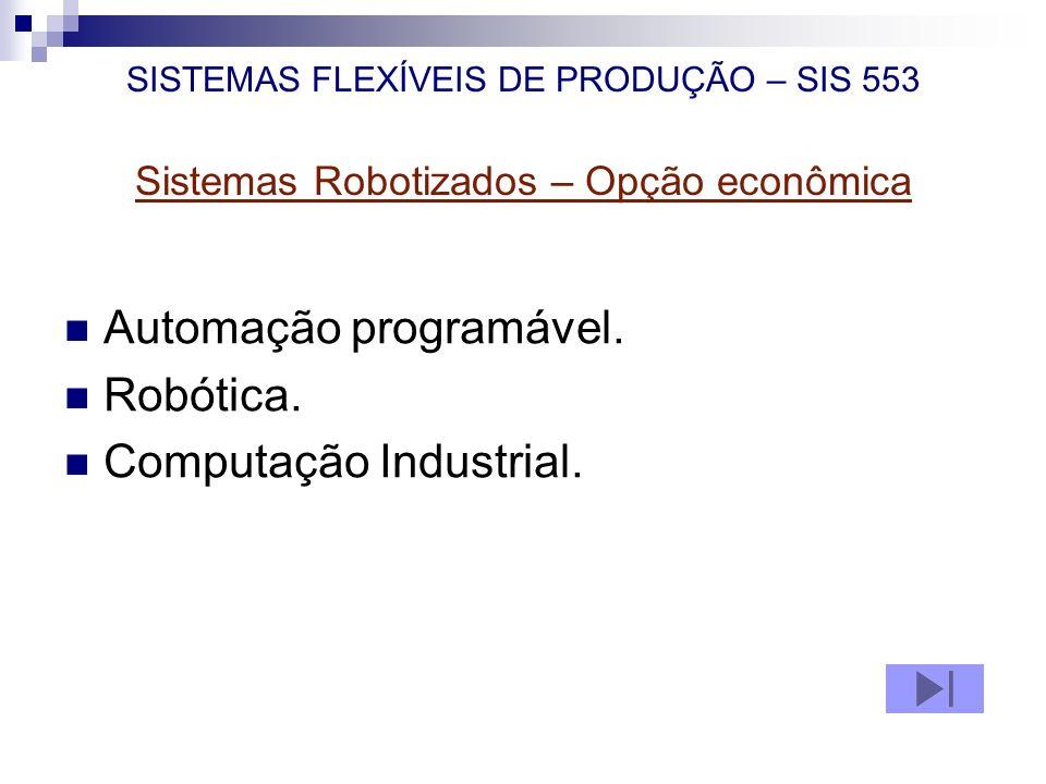SISTEMAS FLEXÍVEIS DE PRODUÇÃO – SIS 553 Sistemas Robotizados – Opção econômica Automação programável. Robótica. Computação Industrial.