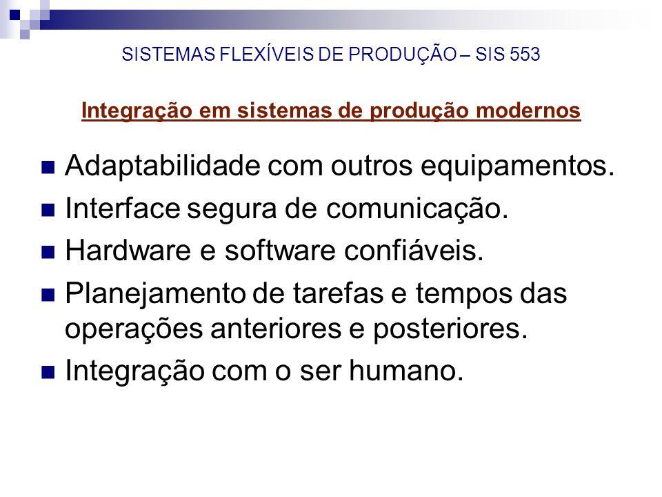 SISTEMAS FLEXÍVEIS DE PRODUÇÃO – SIS 553 Integração em sistemas de produção modernos Adaptabilidade com outros equipamentos. Interface segura de comun