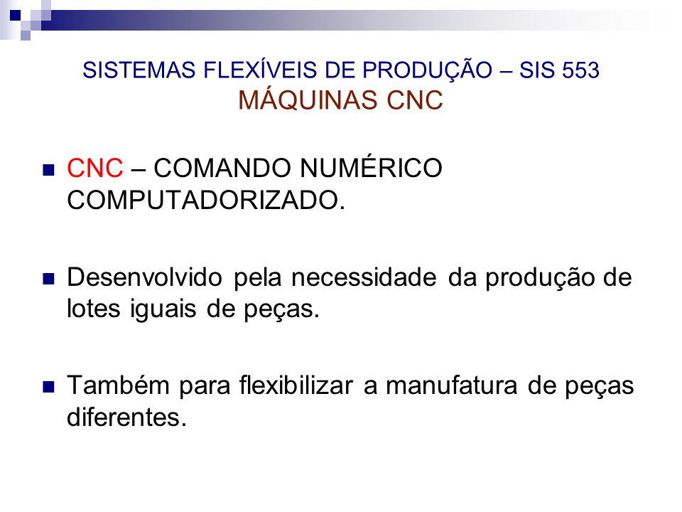 SISTEMAS FLEXÍVEIS DE PRODUÇÃO – SIS 553 MÁQUINAS CNC CNC – COMANDO NUMÉRICO COMPUTADORIZADO. Desenvolvido pela necessidade da produção de lotes iguai