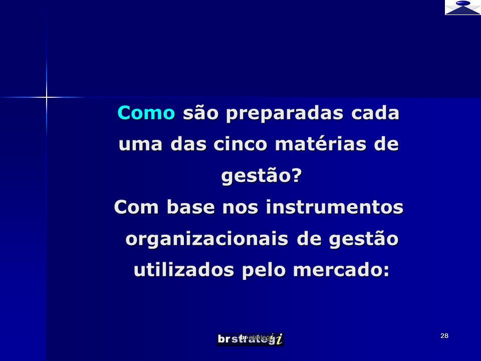 br strateg i 28 Como são preparadas cada uma das cinco matérias de gestão.