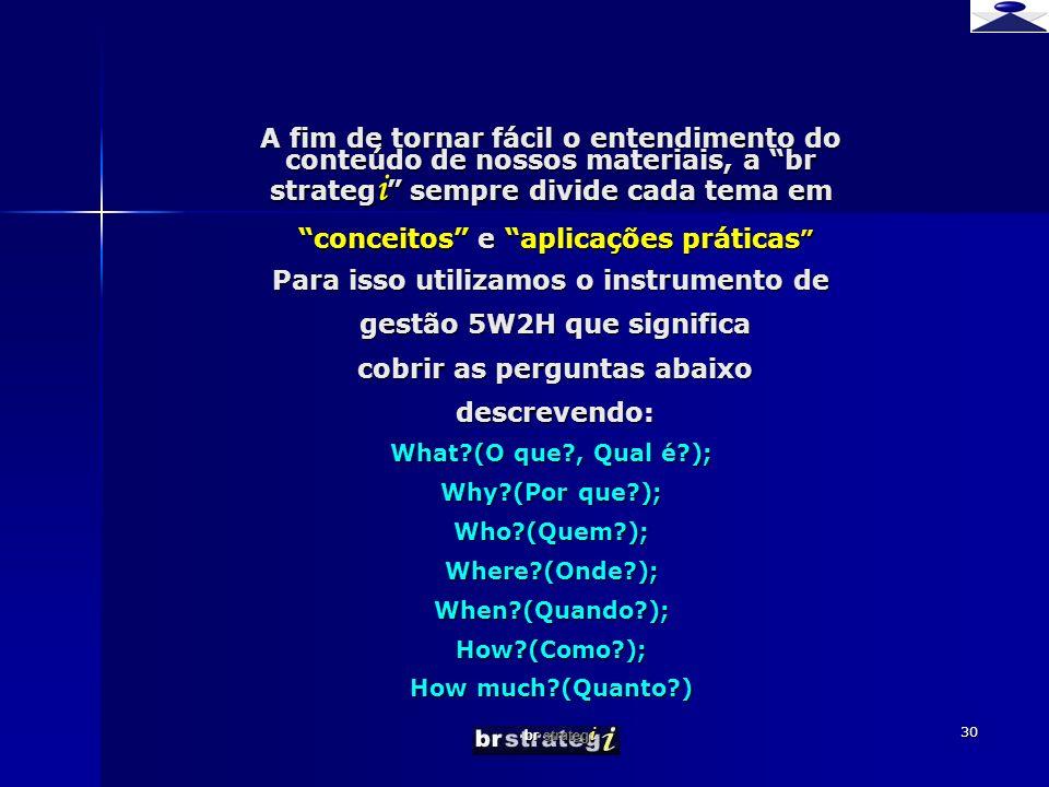 br strateg i 30 A fim de tornar fácil o entendimento do conteúdo de nossos materiais, a br strateg i sempre divide cada tema em conceitos e aplicações práticas Para isso utilizamos o instrumento de gestão 5W2H que significa cobrir as perguntas abaixo descrevendo: What?(O que?, Qual é?); Why?(Por que?); Who?(Quem?); Where?(Onde?); When?(Quando?); How?(Como?); How much?(Quanto?)